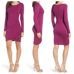 Leith Long Sleeve Ruched Side Purple Magenta Dress